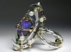 Magnificience Stellaire. 14k Gold, 925 Silver, Opal, Chrome Diopsides, Amethyst, Moonstone, Pearls. Claudio Pino
