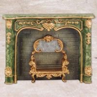 Fireplace, green marble