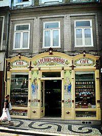 Art Nouveau azulejos on a shop in Porto
