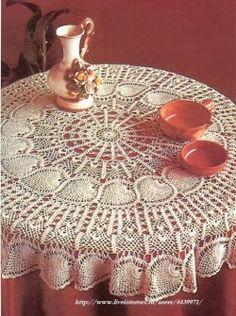 Crochet and arts: Openwork crocheting tablecloths Crotchet Patterns, Bead Loom Patterns, Crochet Stitches Patterns, Doily Patterns, Crochet Designs, Crochet Cross, Crochet Round, Thread Crochet, Knit Crochet