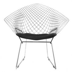 Knoll International - Bertoia Diamond Sessel - chrom/glänzend/mit SirzkissenTonus 128 schwarz