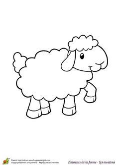 Dessin à colorier d'un joli mouton qui gambade Plus