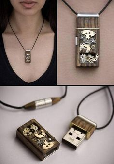 I present to you my first Mechanical Memory Pendant. This beautiful item is in the same style as my previous USB keys but also doubles as a unique steampunk necklace. Gadgets Steampunk, Mode Steampunk, Style Steampunk, Steampunk Fashion, Gothic Fashion, Latest Electronic Gadgets, Electronics Gadgets, Electronic Gifts, Technology Gadgets