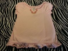 ~ Old Navy Baby Girl Pink Embroidered Neck Tee Shirt Top ~ Size 2T ~EUC #OldNavy