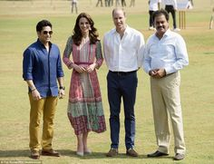 High praise: Legendary cricketer Sachin Tendulkar (pictured left) later said of the Duchess: 'She batted, she fielded, she did everything!'