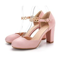 QueenFam Womens Closed Round Toe High Heel Chunky Heels PU Soft Material Solid Pumps with Metal, Pink, 40 QueenFam http://www.amazon.com/dp/B00KZ8X8YC/ref=cm_sw_r_pi_dp_gge9tb02SW4BH