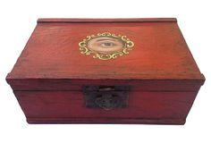 Antique Chinese Box w/ Painted Eye on OneKingsLane.com