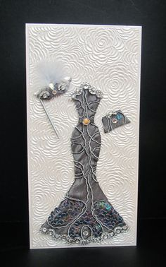 Miranda Masquerade Dress Personalized Card / DL Size / Handmade Greeting Card