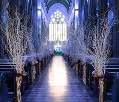 Winter wedding ceremony set up - what a great way of incorporating natural twigs into your wedding decor! Wedding Aisles, Branches Wedding, Wedding Reception, Wedding Church Aisle, Birch Wedding, Catholic Wedding, Space Wedding, Chapel Wedding, Wedding Table