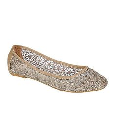 Taupe Superry Floral Cut-Out Flat #zulily #zulilyfinds