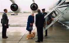 All aboard: the Queen and Prince Edward at Heathrow in 1994 with one of the family's corgis - Queen's Diamond Jubilee: the corgis bow wow before you, Ma'am #corgi