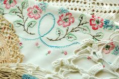 Vintage Embroidered Pillowcase and Doilies: by JustBeenMeBoutique