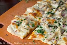 Roasted Garlic, Chicken & White Herb Pizza by Dinners, Dishes and Dessert