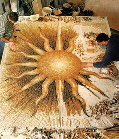 Sun Mosaic Progress - my gosh! The enormity of it!SUNBURST FLOOR MOSAIC Marble and limestone mosaic. Design and fabrication by Dimitry and Mark Polyakov. Fabricated in GMA studio. Mosaic Artwork, Mosaic Wall, Mosaic Tiles, Mosaic Mirrors, Tiling, Stone Mosaic, Mosaic Glass, Glass Art, Stained Glass
