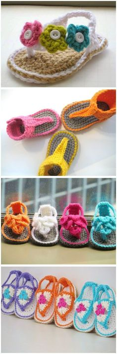 crochet baby shoes Crochet Pattern Booties patterns - These little Crochet Baby Flip Flop Sandals are the perfect summer accessories for those little feet. Check out the crochet patterns below. Crochet Baby Sandals, Crochet Baby Booties, Crochet Shoes, Crochet Slippers, Knitted Baby, Beaded Crochet, Baby Shoes Pattern, Baby Patterns, Crochet Patterns