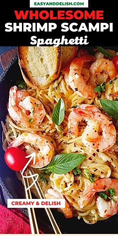Wholesome Shrimp Scampi Spaghetti Recipe for a quick and easy dinner that is pure comfort. #pastarecipes #shrimprecipes #healthymeals #dinnerrecipes #wholesomemeals Best Shrimp Recipes, Creamy Pasta Recipes, Seafood Pasta Recipes, Lobster Recipes, Spaghetti Recipes, Noodle Recipes, Fish Recipes, Easy Homemade Recipes, Easy Healthy Recipes