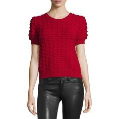 Alice + Olivia Blair Puff-Sleeve Bobble Sweater ($365) via Polyvore featuring tops, sweaters, red, alice olivia top, short tops, alice olivia sweater, wool pullover sweater and wool pullover