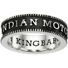 King Baby Studio Indian Motorcycle Logo Coin Edge Band Ring ($180) ❤ liked on Polyvore featuring jewelry, rings, silver, silver indian ring, indian jewelry, king baby studio, silver jewellery and indian silver jewelry