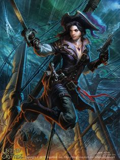 Stunning Fantasy Portraits by Liang Xing of Pirates Pirate Art, Pirate Woman, Pirate Life, Pirate Queen, Lady Pirate, Fantasy Portraits, Character Portraits, Character Art, Fantasy Artwork