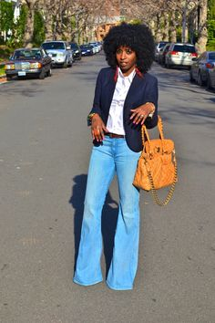Style Pantry | School Boy Blazer + White Button-Up + Bell Bottom Jeans