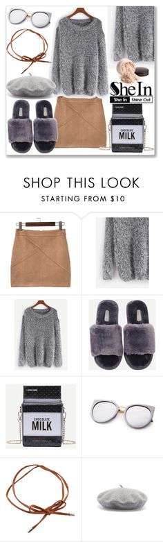 """""""Shein Grey Sweater"""" by ludmyla-stoyan ❤ liked on Polyvore featuring WithChic, Laura Mercier, Sweater, grey, shoulder and shein"""