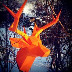 """Юля Слон on Instagram: """"#wastepaperhead #deer #trophy #papercraft #orange #winter #lowpoly #paper"""""""