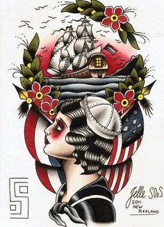 sailor girl and ship