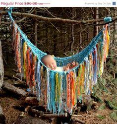 ON SALE FRiNGe BLaNKeT Baby PHoTo Prop Hammock SToRk BeD Pouch Throw UNiGENDeR BeAch DaY aqua yellow orange grey blue PiCk CoLors Knit to O. $81.00, via Etsy.