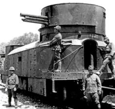 A Japanese armored train, part of the Kwantung Army occupying Manchuria in the 1930s, captured from the Chinese forces.