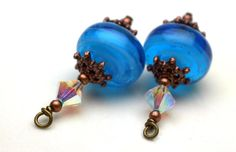 Aqua Blue Lampwork and Copper Crystal Bead by bountyofbeads, $6.00