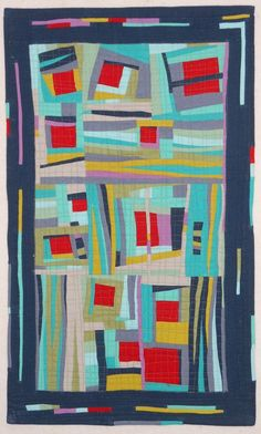 "Kathie Briggs' improvisational quilt. 29"" x 17.5"". Started in a workshop with Gwen Marston."