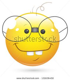 Smiley Illustration - Book Worm Face - stock photo