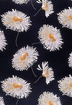 """mote-historie: """" Bianchini-Férier Dress fabric 1935 This silk crepe dress fabric is printed with a repeat of flowers and stems in white and yellow on a black background. Floral printed fabrics held a prominent place in every smart woman's wardrobe in..."""