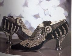 1925 Art Deco Shoes mid 20s era heels silver black beaded fancy evening shoes