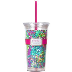 Lilly Pulitzer Travel Tumbler ($15) ❤ liked on Polyvore featuring home, kitchen & dining, drinkware, accessories, drinks, turquoise, bpa free tumbler, plastic drinkware, bpa free plastic tumblers and plastic tumblers