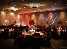Beautiful wedding venue made glam with @RentMyWedding personalized #monogram  #uplighting  fab #linen!