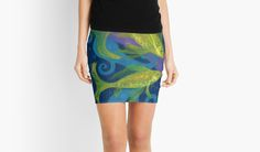 """""""Golden Fishes, underwater creatures, blue & yellow"""" Mini Skirts by clipsocallipso 