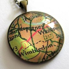 resin pendant necklace- where we met map charm