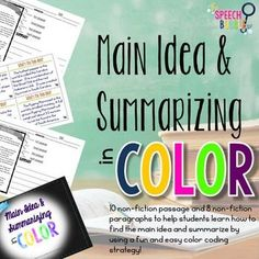 Learning how to find the main idea can be hard and learning to summarizing can be down right daunting to kids! This packet has students use a color coding technique to identify the main idea and then learn to construct summaries!There are 10 non-fiction passages on the following topics:- The Human S...