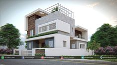 Panash Design Studio - Take a look of our best design list of Commercial Elevation Projects. 2 Storey House Design, Duplex House Design, House Front Design, House Design Photos, Small House Design, Architecture Building Design, Home Building Design, Modern Architecture House, Facade Design