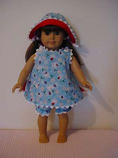 """18"""" doll patterns $ towards charity. ideas: use of rickrack with print dress"""