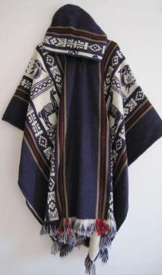 Llama-Wool-Poncho-with-Hood-violet-Man-Woman-Cape-Coat-Men-Handmade-in-Ecuador