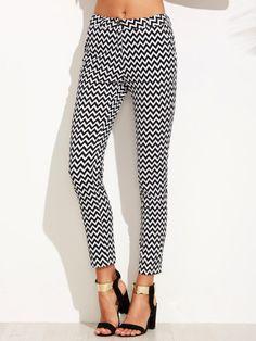 Pantalones ajustados con estampado chevron-Sheinside