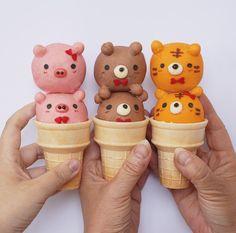 Ice cream cones ~ pigs, bears, & tigers