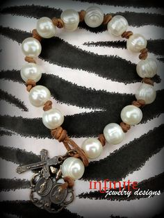 Pearl and Leather Bracelet by susansagrera on Etsy, $55.00