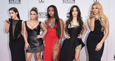 Singer Camila Cabello of the girls group 'Fifth Harmony' wears a two pieces set by GEMY MAALOUF on the Red Carpet while attending the 2015 American Music Awards at Microsoft Theatre on November 22, 2015 in Los Angeles, California.  The black gown features a sexy slit that reveals a lace detailed mini dress. Fifth Harmony Slay AMAs 2015 Red Carpet!