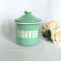 A personal favorite from my Etsy shop https://www.etsy.com/listing/227829437/vintage-enamel-coffee-canister-mint