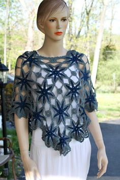 The Blues Crochet Shawl by CasadeAngelaCrochet on Etsy, $69.00