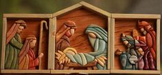 Tri panel Nativity.  Sold - This nativity was much smaller than the first.  The pattern was a quilt/stained glass pattern. Every stain was homemade to accentuate each piece.  Alas my dremel and new sanding mops were used to quickly carve and smooth each piece.