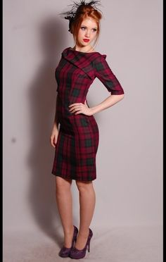 not with purple shoes though... | red tartan plaid pencil skirt wiggle dress